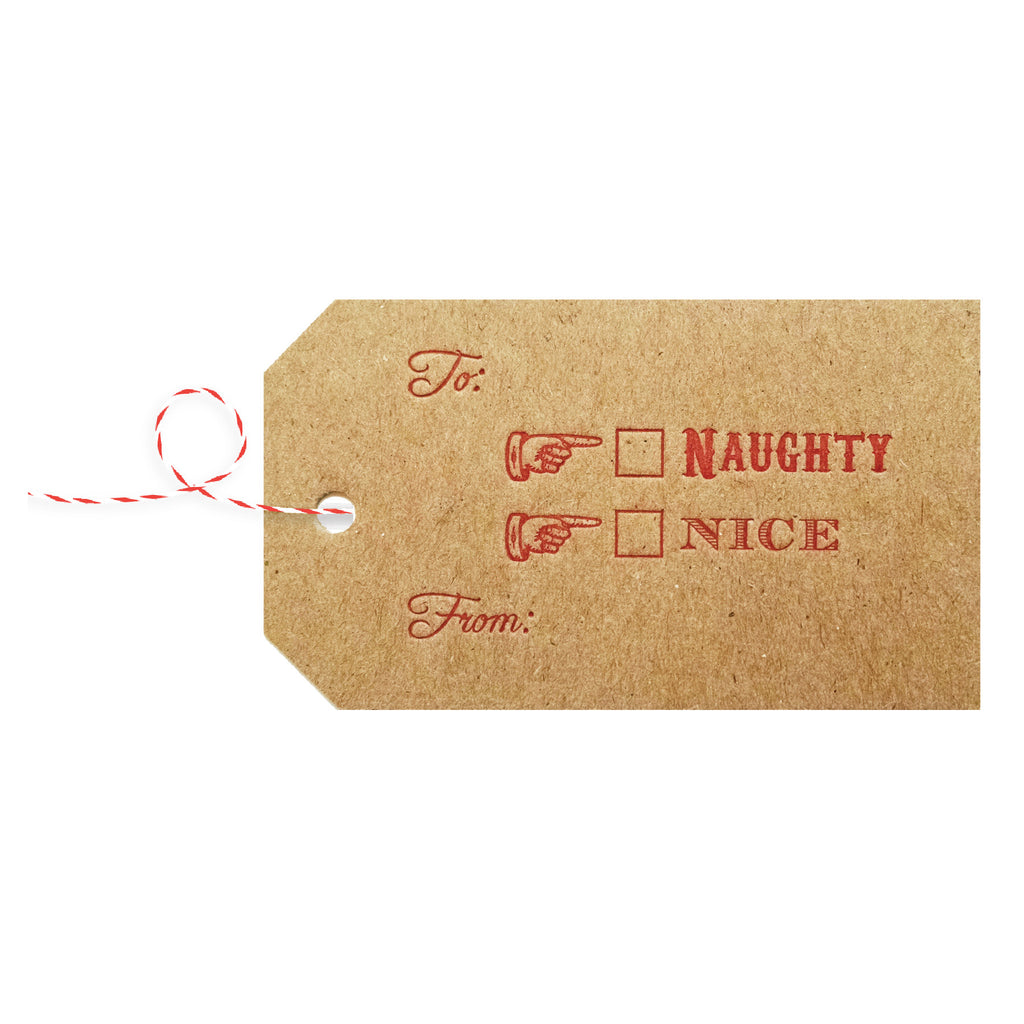 Letterpress Christmas Gift Tags / Naughty or Nice - 4 pack - IdeaChic  - 1