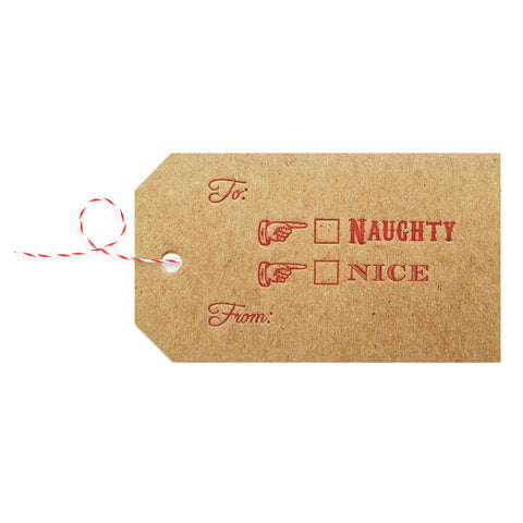 Naughty or Nice Letterpress Gift Tags - Set of 4 - Idea Chíc