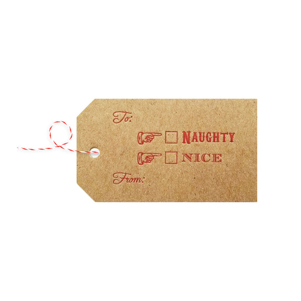 Letterpress Christmas Gift Tags / Naughty or Nice - 4 pack - IdeaChic  - 2