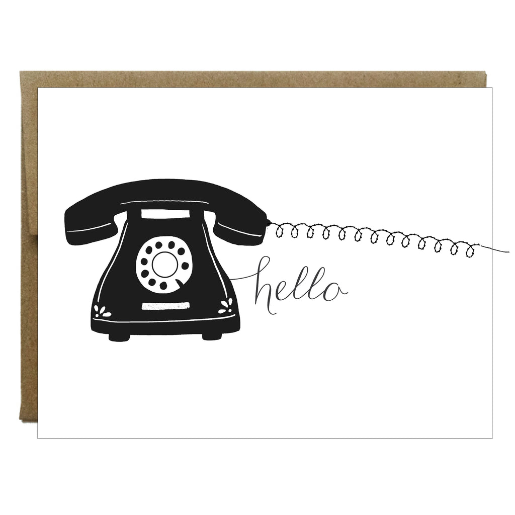 Hello Black Phone with Sewn Cord Greeting Card