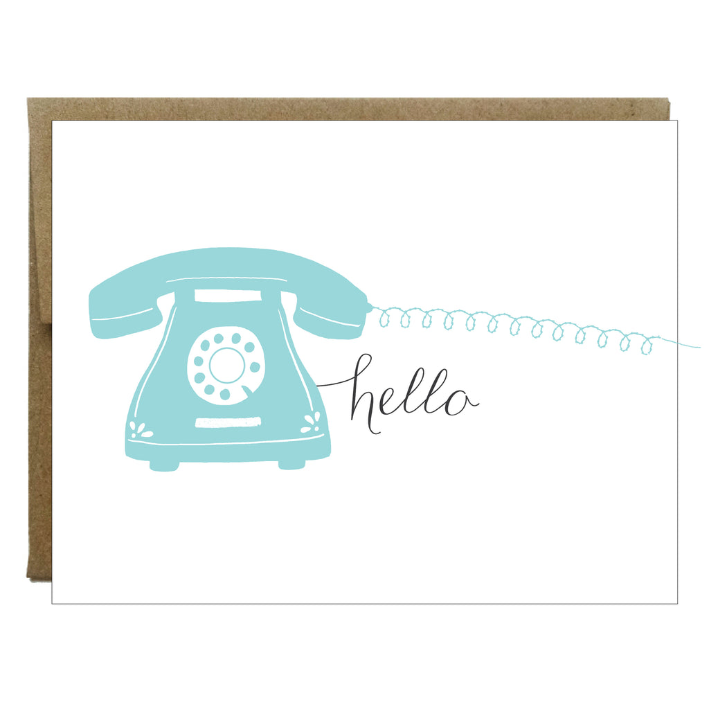 Hello Blue Phone with Sewn Cord Greeting Card