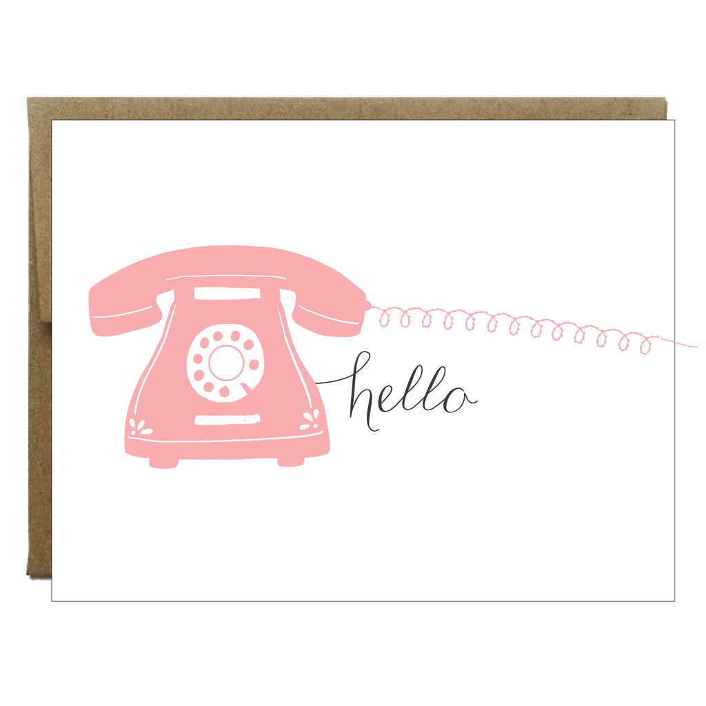 Hello Pink Phone with Sewn Cord Greeting Card