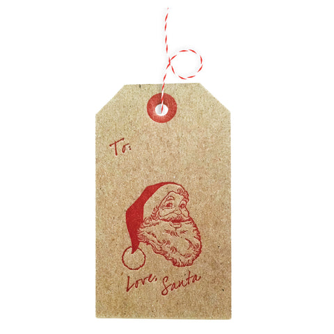 Love Santa Christmas Gift Tags Letterpress - 4 pack - Idea Chíc