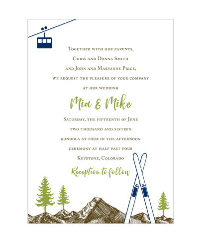 Colorado Mountain, Skis and Gondola Wedding Invitation IdeaChic