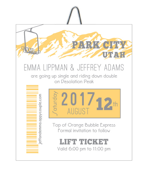 Alpine Gondola Ski Pass Colorado Wedding Invitation - Idea Chíc