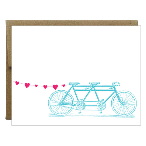 Tandem Bike with Heart Banner Card - Idea Chíc