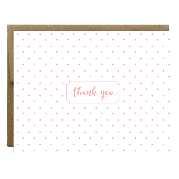 Polka Dot Thank You Greeting Card | Choose Navy Black or Blush - 8 pack - Idea Chíc