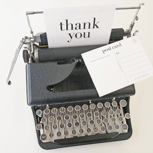 Modern Thank You Postcards | Black on White Paper - Set of 10 - Idea Chíc