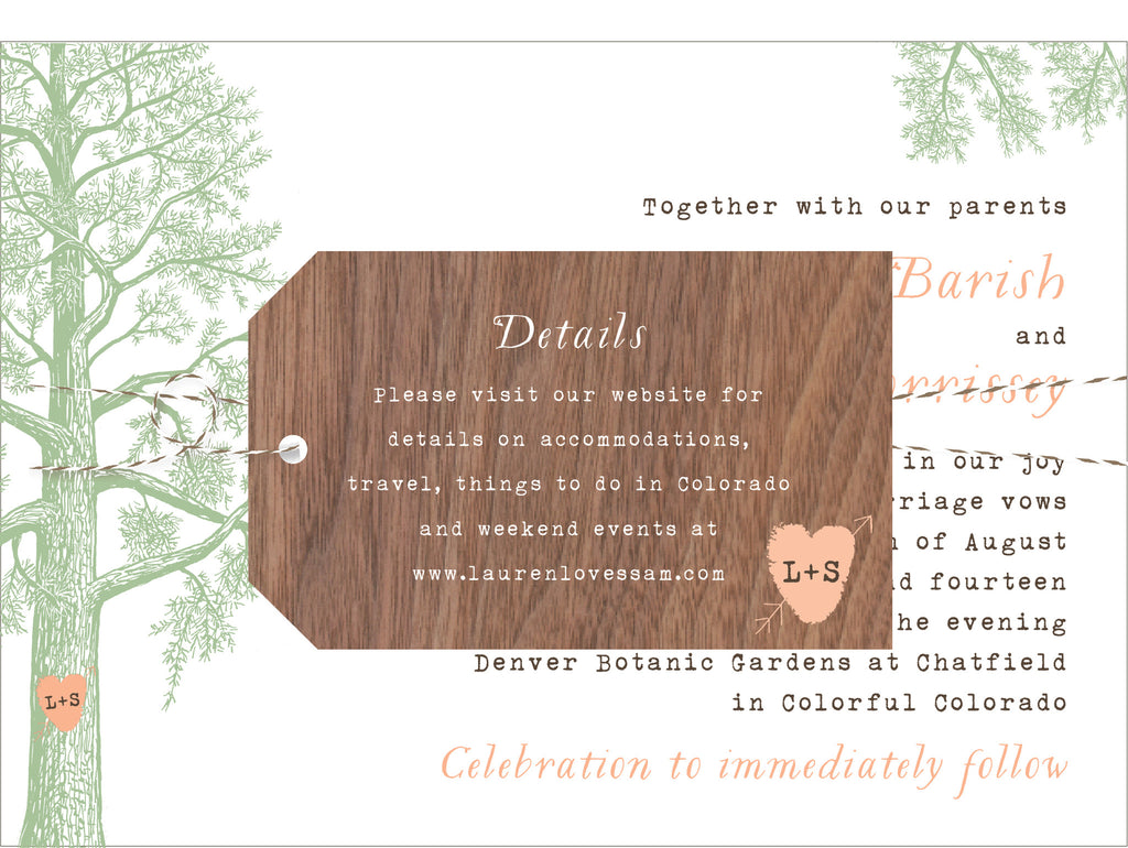 Trees with Thumbprint Carved Heart Wedding Invitation Collection ...