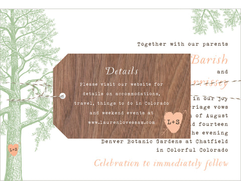 Trees with Thumbprint Carved Heart Wedding Invitation Collection - IdeaChic  - 1