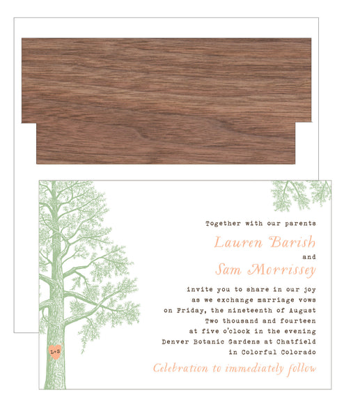 Trees with Thumbprint Carved Heart Wedding Invitation Collection - IdeaChic  - 7