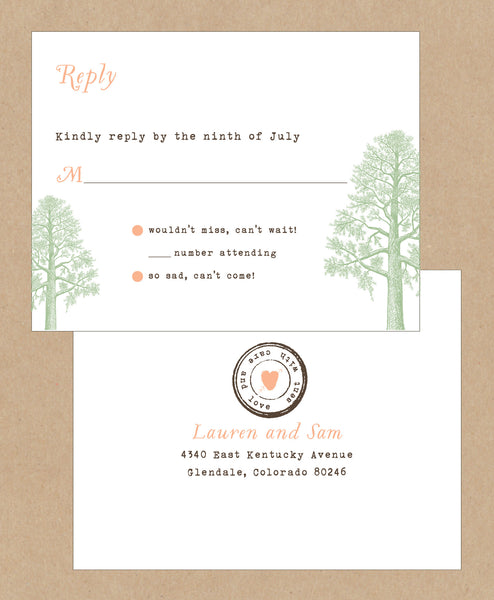 Trees with Thumbprint Carved Heart Wedding Invitation Collection - IdeaChic  - 3