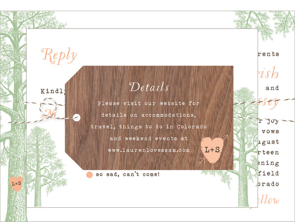Trees with Thumbprint Carved Heart Wedding Invitation Collection - Idea Chíc