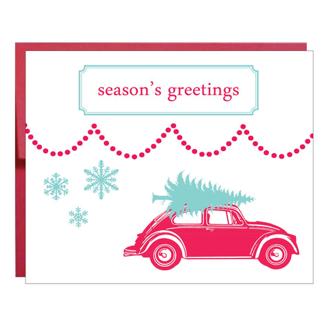 Volkswagen Bug and Blue Tree Holiday Card - 8 pack
