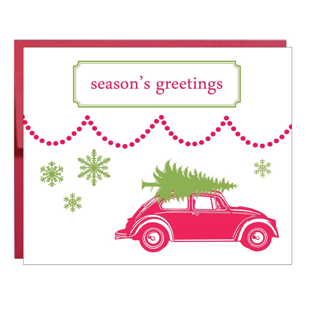 Volkswagen Bug with Christmas Tree Greeting Card