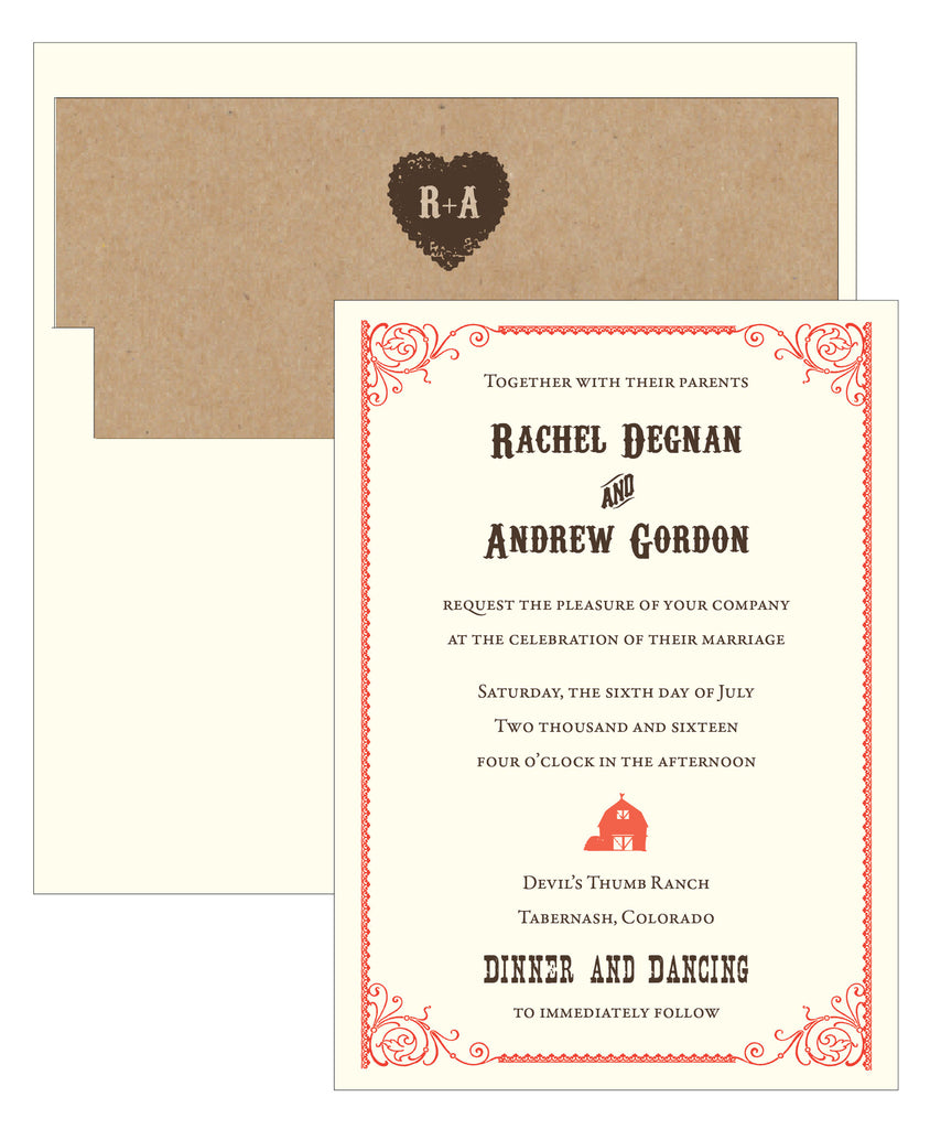 Western Mountain Barn Wedding Invitation Collection Idea Chc
