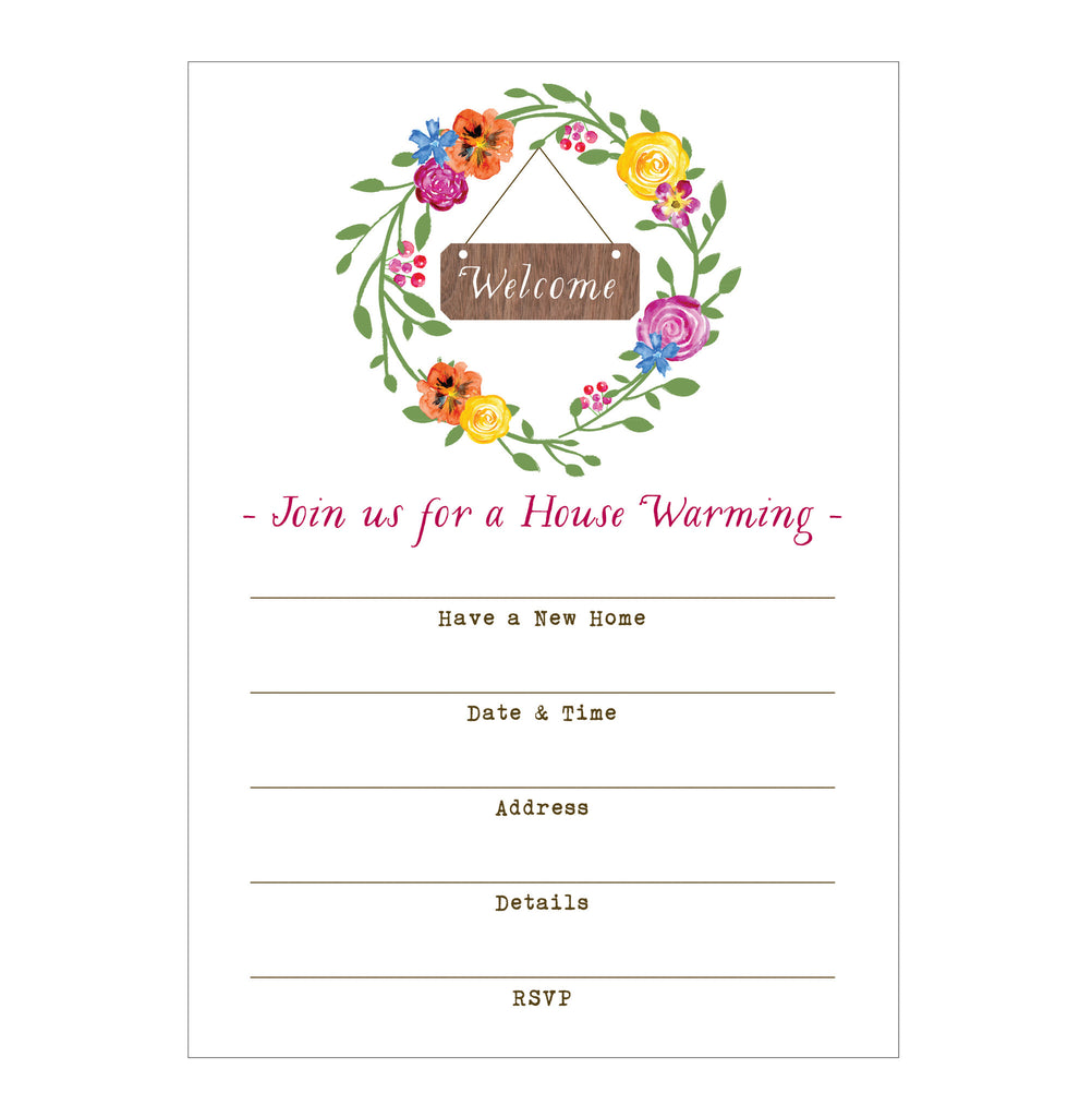Watercolor Wreath Happy House Warming Fill-in Invitations - 10 pack - Idea Chíc