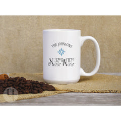 Latitude Longitude Coordinates Personalized Coffee Mug. Compass Coffee Mug.