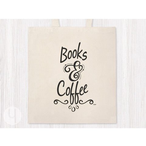 Books & Coffee Tote Bag - FREE Shipping