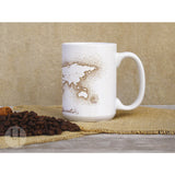World Map Brown Dots Large Mug - FREE Shipping