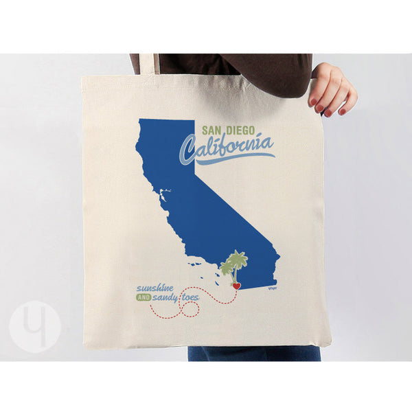 Tote Bag California Souvenir State Pride Sunshine and Sandy Toes Shopping Bag Navy Look