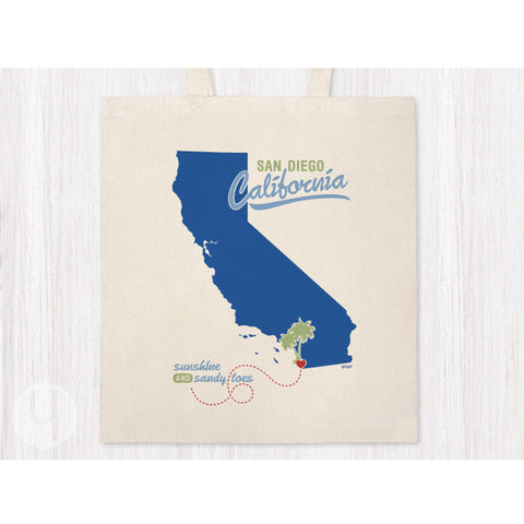 Tote Bag California Souvenir State Pride Sunshine and Sandy Toes Shopping Bag Navy