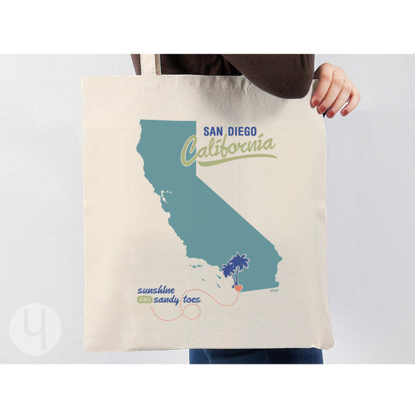 Tote Bag California Souvenir State Pride Sunshine and Sandy Toes Shopping Bag Teal Look