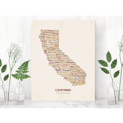 California Typographic Map (Brown)