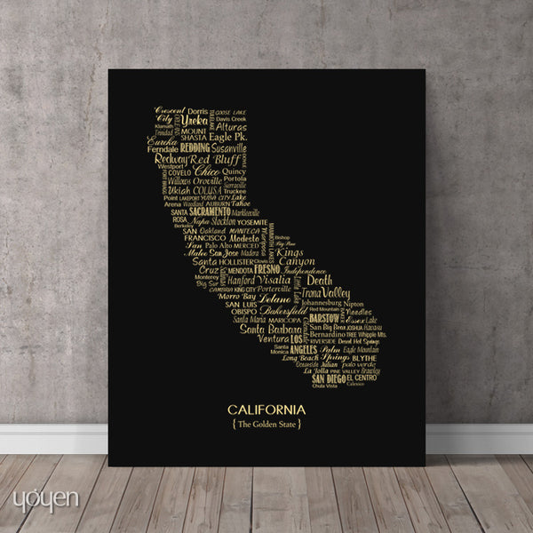 California Typographic Print.  A classy and perfect gift to display our state pride.