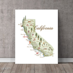 California Art. California State Pride Print. Gift Idea for travelers. Yoyen