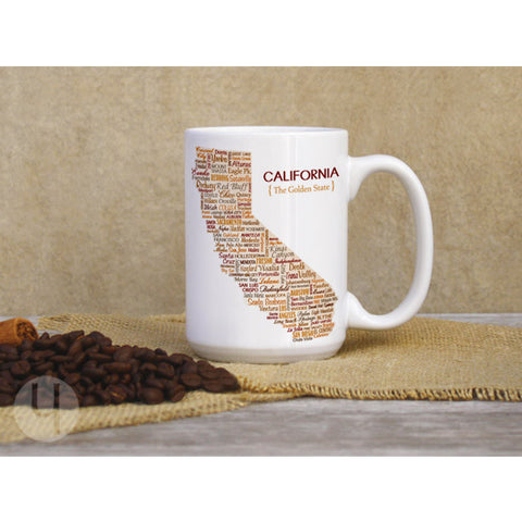 California Typographic Map Large Coffee Mug - FREE Shipping