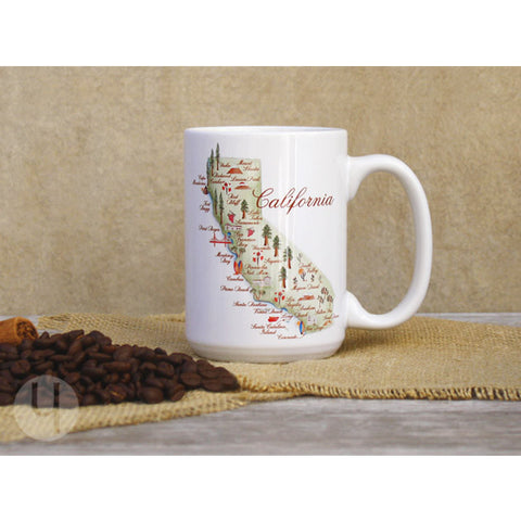 California Watercolor Map Large Coffee Mug - FREE Shipping