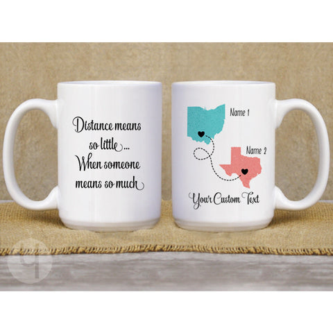 Personalized Long Distance State/Country Mug - FREE Shipping