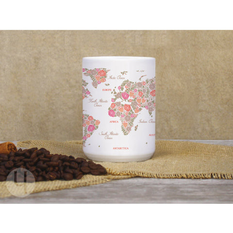 Floral World Map White Large Mug - FREE Shipping