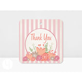 Pink Stripes Thank You Tags (Set of 12)