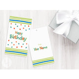 Personalized Happy Birthday Stripes Gift Tags