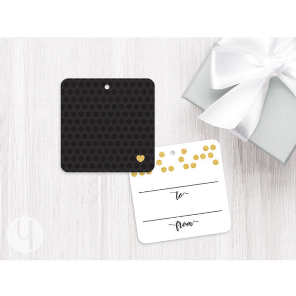 black and gold dots gift tag