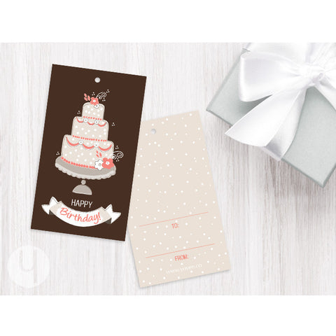 coral cake birthday gift tag