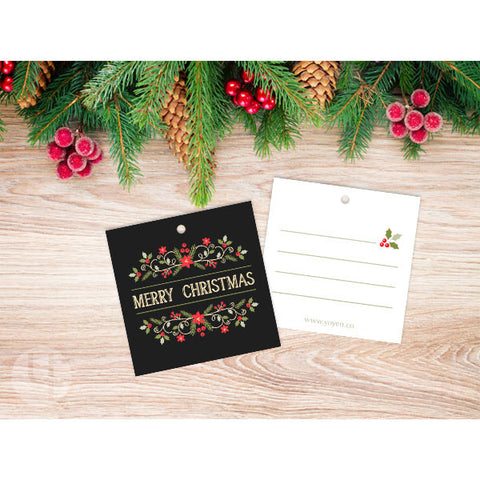 Floral Merry Chirtsmas Gift Tags
