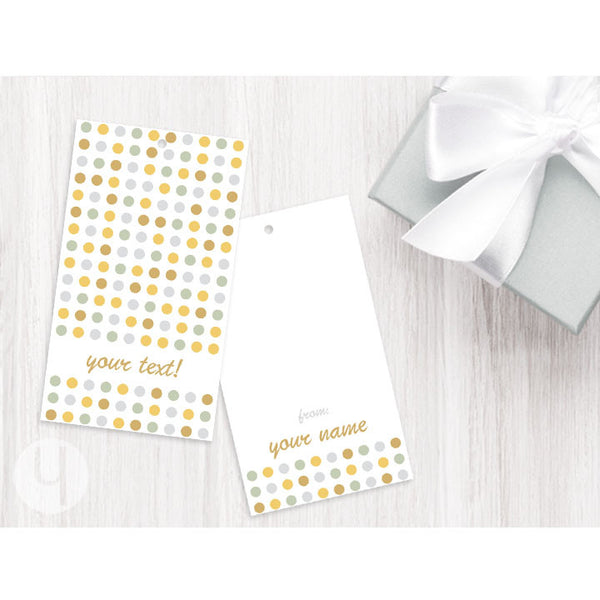 personalized party dots gift tags
