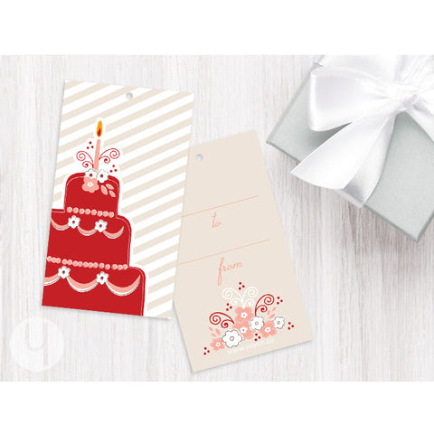 red cake birthday gift tag