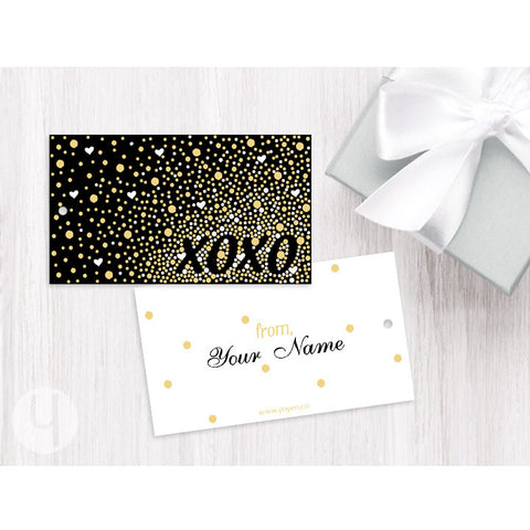Personalized XOXO Gold White Dots Gift Tags
