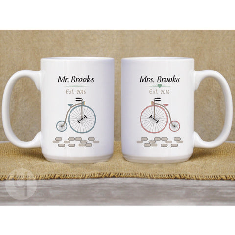 Personalized Anniversary/Wedding Bikes Mug Set - FREE Shipping