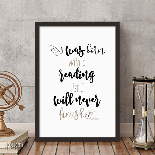 I Was Born with a Reading List... Print - FREE Shipping