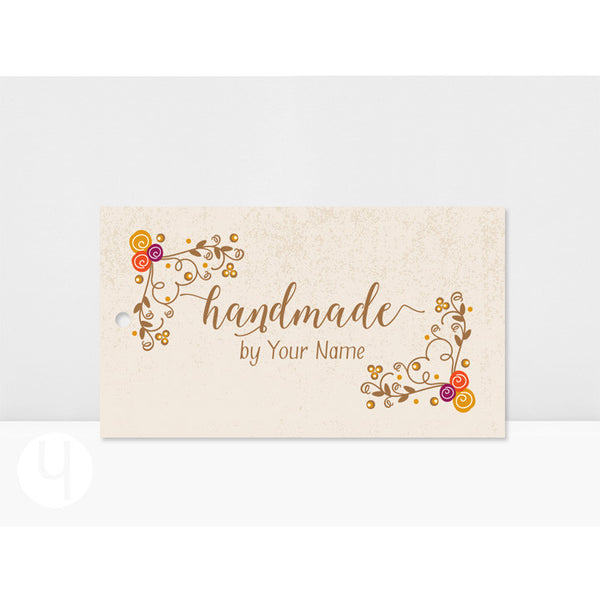 Personalized Floral Swirls Handmade Tags