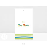 Personalized Happy Birthday Lime stripes Gift Tags Back