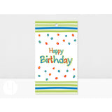 Personalized Happy Birthday Lime stripes Gift Tags Front