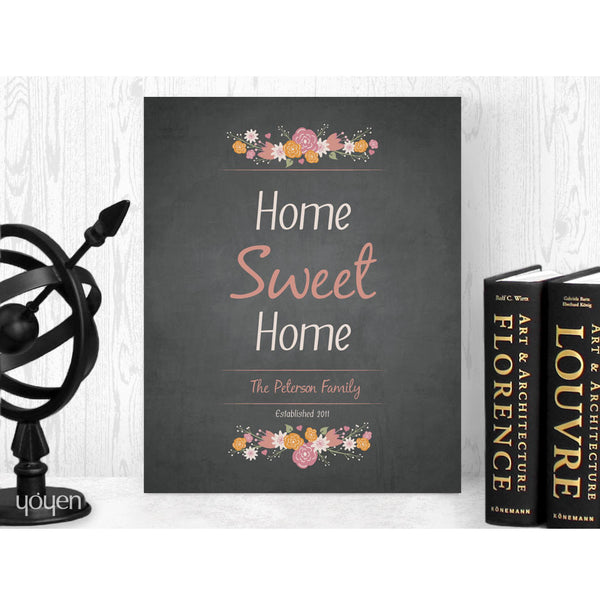 Personalized Home Sweet Home Floral Print (Chalkboard). FREE Shipping! Home Sweet Home Personalized Print.