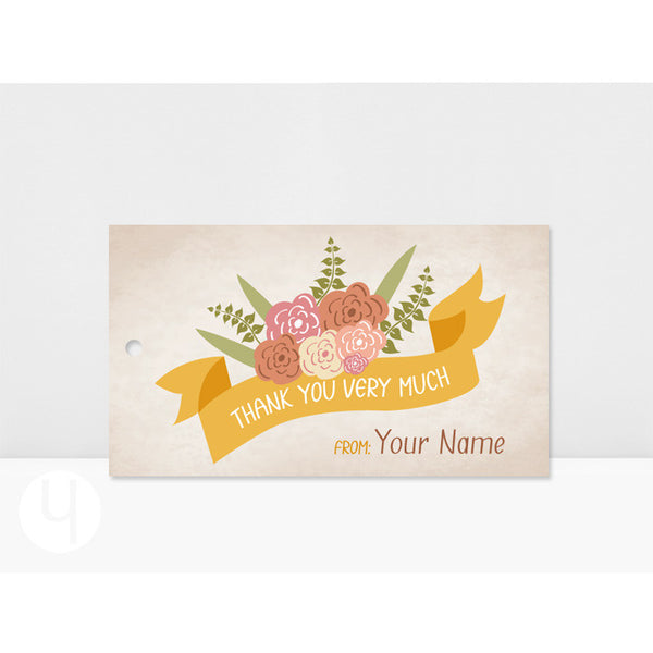 Personalized Roses Banner Thank You Tags