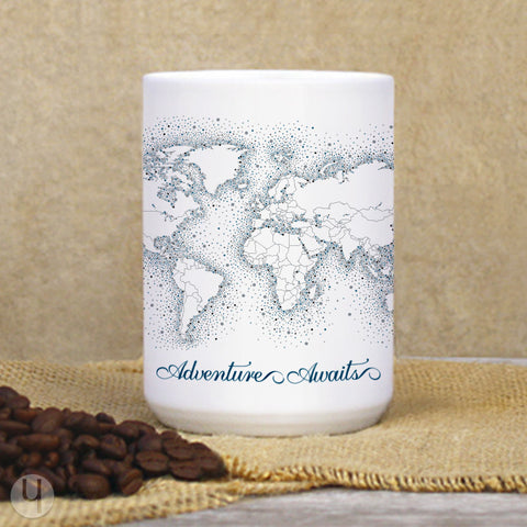 Navy Dots World Map Mug - FREE Shipping